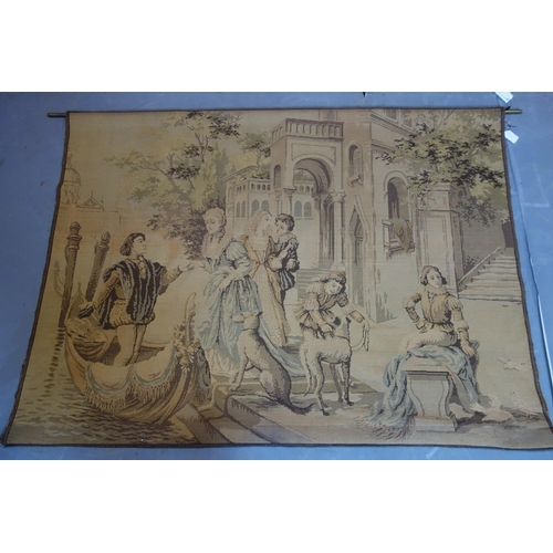 131 - A 20th century wall hanging tapestry with brass rods, 123 x 168cm...