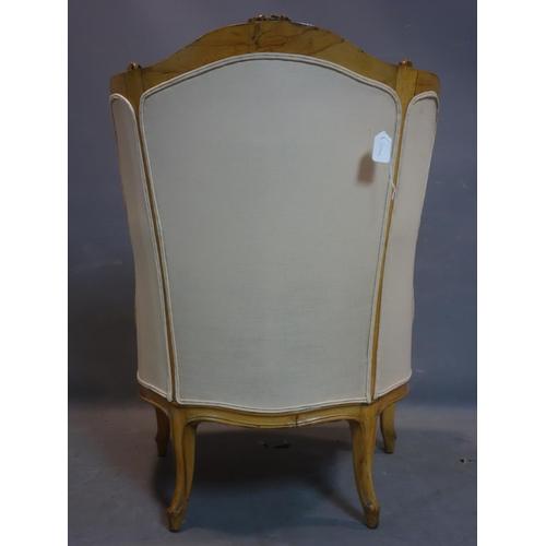 292 - A 20th century French walnut armchair, H.102 W.70cm...