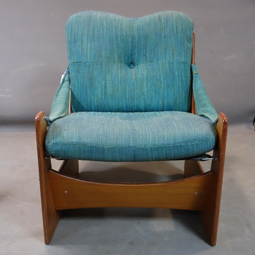 294 - Two mid 20th century teak chairs, with Pirelli rubber webbing, H.72 W.74 D.82cm...