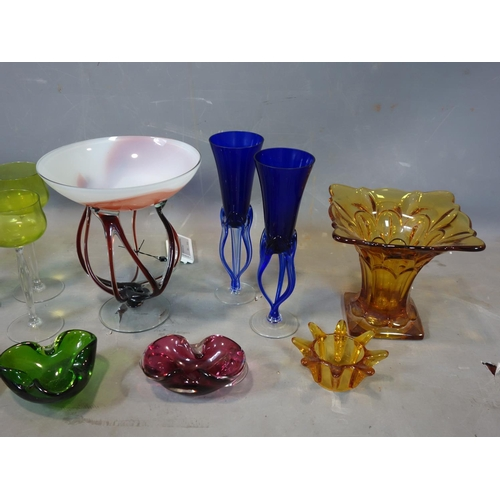 19 - A collection of 20th century coloured art glass...