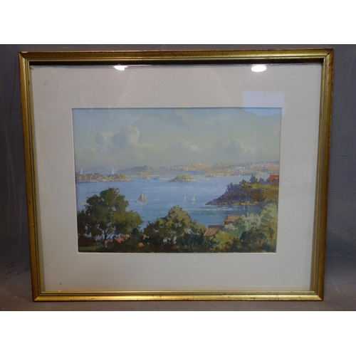 139 - James Russell (Australian, 1858-1930), Sydney Harbour, watercolour and gouache, signed lower right, ...