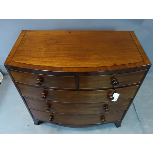 256 - A 19th century inlaid mahogany bowfronted chest of two short over three long drawers, on outswept fe...