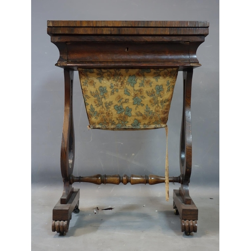 258 - A William IV rosewood work table, H.74 W.53 D.38cm...