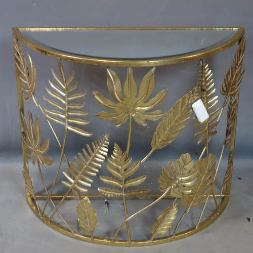 339 - A contemporary gilt metal console table, with bevelled mirrored top, H.68 W.78 D.31cm...