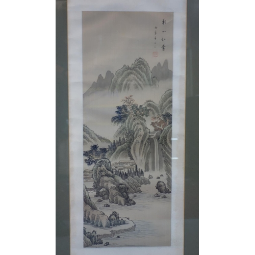 35 - Four Chinese watercolours of houses in mountainous landscapes, bearing Chinese characters and seal m...