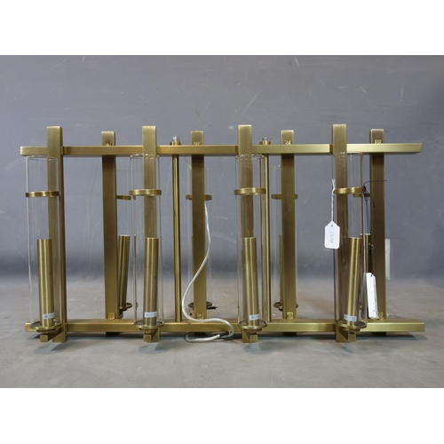 105 - A R V Astley 'Louis' eight light chandelier, with tubular glass shades (one missing), with original ...