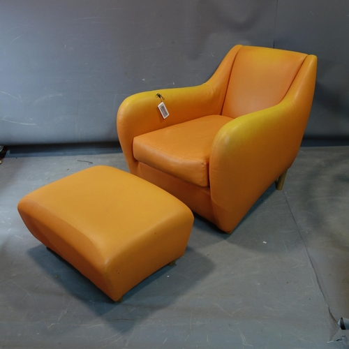 335 - A Matthew Hilton 'Balzac' armchair and matching ottoman stool, upholstered in faux orange leather...