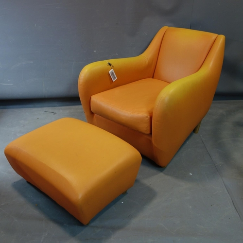 336 - A Matthew Hilton 'Balzac' armchair and matching ottoman stool, upholstered in faux orange leather...