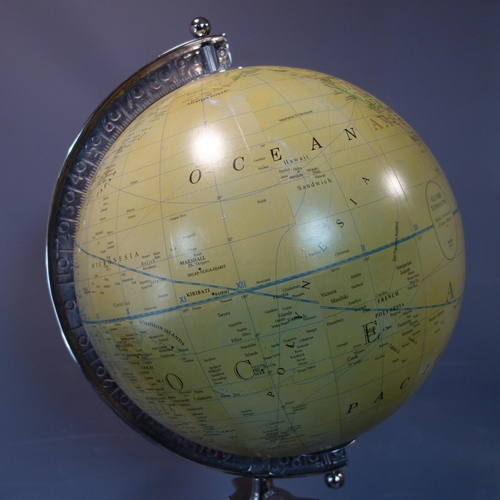 337 - A contemporary globe on adjustable chrome tripod base, H.170cm...
