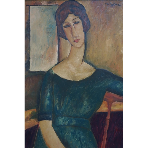 68 - After Amedeo Modigliani (1884-1920), 'portrait of a girl', oil on canvas, set in ornate gilt frame, ...