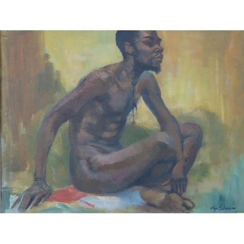 70 - Olga Lehmann (1912 - 2001), 'seated nude', oil on board, set in ornate frame, 62 x 75cm...