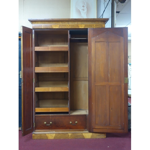 94 - A 19th century pollard oak wardrobe, H.210 W.140 D.48cm...