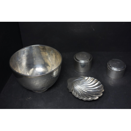 21 - A Victorian silver bowl by G C W, Birmingham 1897, H.8.8cm Diameter 12cm, together with a Victorian ...