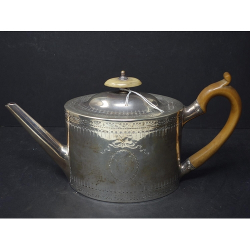 1 - A George III silver tea pot by Charlie Aldrige & Henry Green, dated 1784, 14oz...