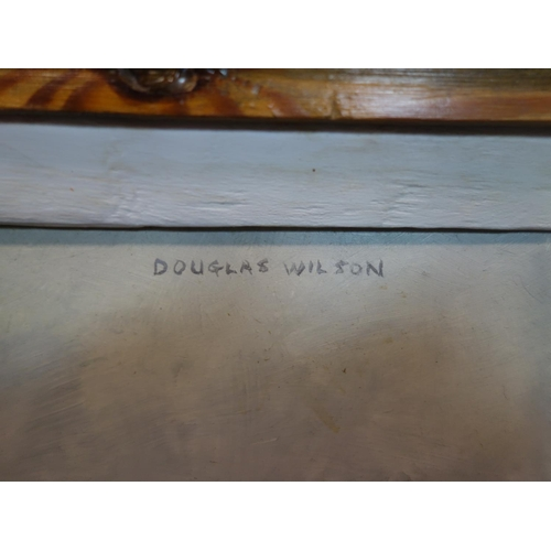 163 - Douglas Wilson, RCA, b.1936, 'Mrs Shakeshaft in her garden', oil on board, signed top right and deta...