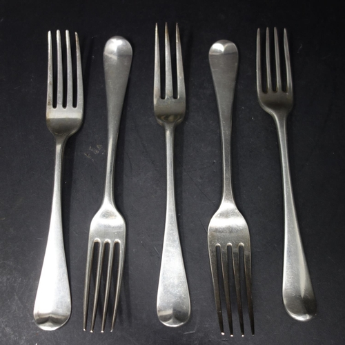 23 - Five 19th century silver forks, to include two Georgian forks, London 1813 and 1819; two Georgian fo...