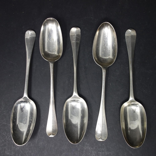 24 - Five Georgian silver spoons, to include a pair of George I spoons, London 1724, a George II spoon, L...
