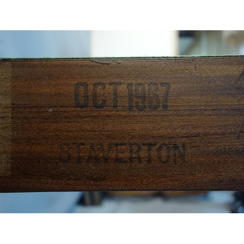 271 - A teak foldover card table, stamped Staverton, raised on square legs, H.71 W.92 D.51cm...