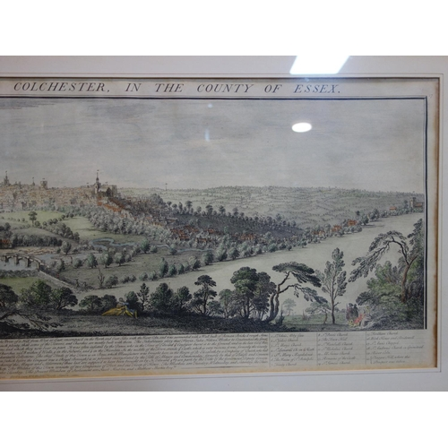 273 - An 18th century coloured engraving titled 'the south east prospect of Colchester in the county of Es...