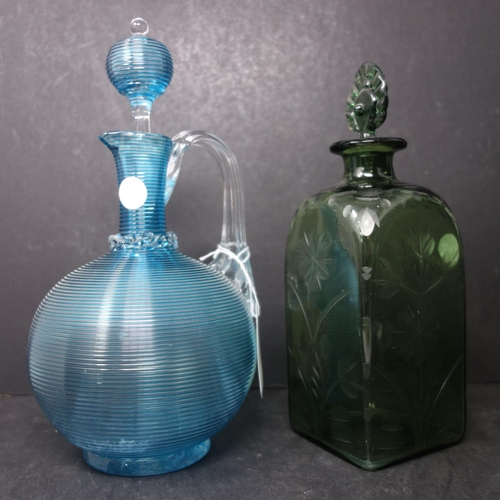 42 - An antique Venetian blue glass decanter, H.27cm, together with a Victorian green glass decanter with...