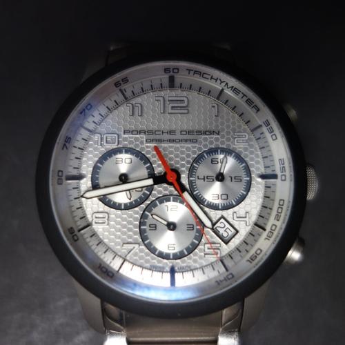 5 - A Porsche Design 'Dashboard' titanium chronograph, automatic movement, dial with Arabic numerals, th...