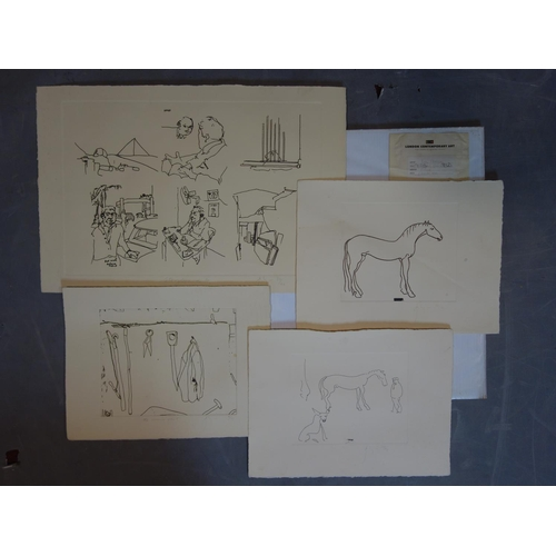 93 - Barry Flanagan (British, 1941-2009), four unframed etchings to include 'Storyboard', signed and date...