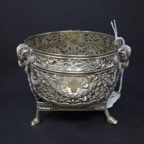 15 - WITHDRAWN- An early 20th century Chester silver sugar bowl, with pierced decoration, dated 1908, 8oz...