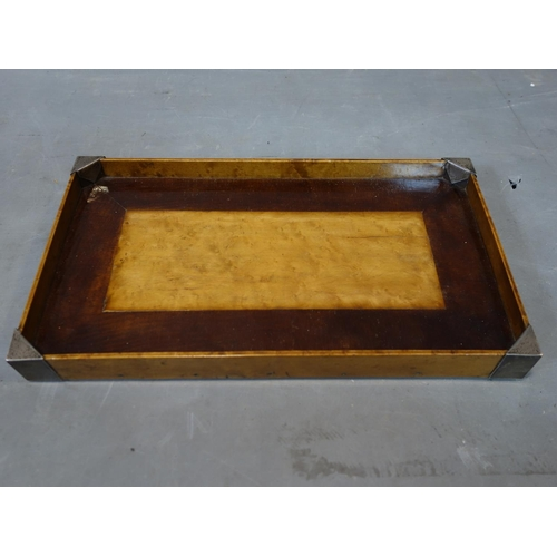 40 - A 19th century maple and mahogany tray with silver mounted corners, H.4 W.35 D.20cm...