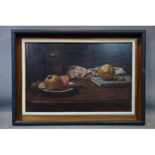 29 - George Weissbort (1928-2013), Still life of pomegranates, passion fruit, a book, a jar and a table c...