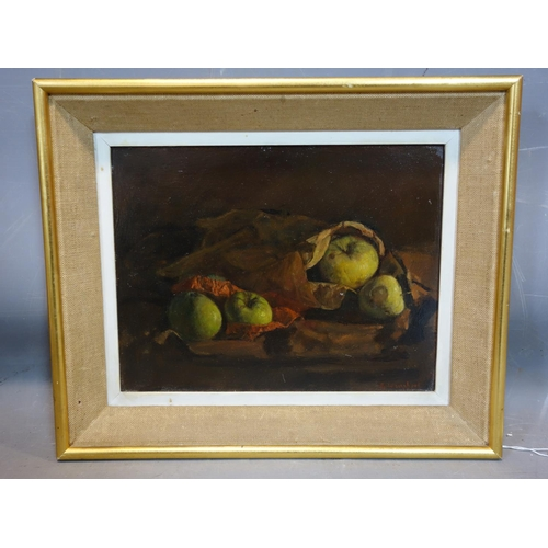 31 - George Weissbort (1928-2013), Still life of apples in a paper bag, oil on board, signed and dated 19...
