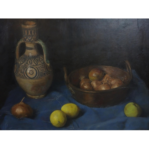 37 - George Weissbort (1928-2013), Still life of a jug, a copper pot of onions, an apple and two lemons o...