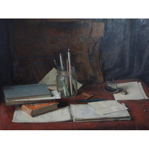 39 - George Weissbort (1928-2013), Still life of pens and pencils in a jar, a leather satchel, ink and bo...