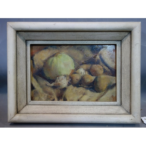 41 - George Weissbort (1928-2013), Still life of fruit and vegetables, signed and dated 1950 to lower rig...