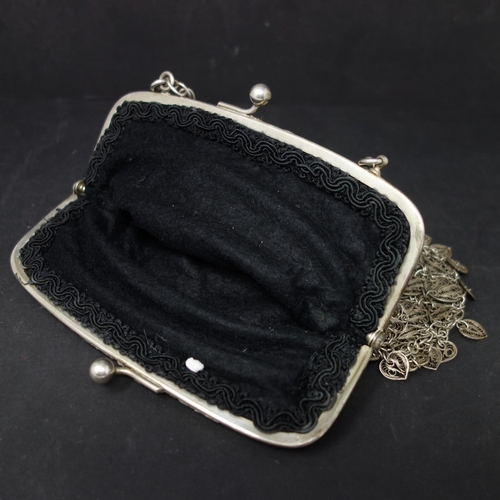 75 - An early 20th century Chinese white metal filigree purse, approx. 9.6 troy oz, H.16 W.18cm...