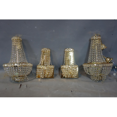 27 - A pair of contemporary basket chandeliers, gilt metal with droplets, H.50cm Diameter 30cm, together ...