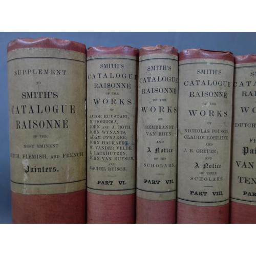 47 - Eight volumes of 'Smiths catalogue raisonne of the works of...', missing volume IV, circa 1908...