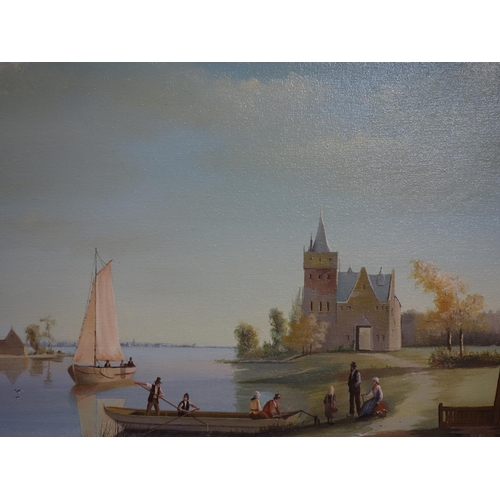 22 - M. Alexander, Dutch school, River scene with figures and castle, oil on canvas, signed lower right, ...