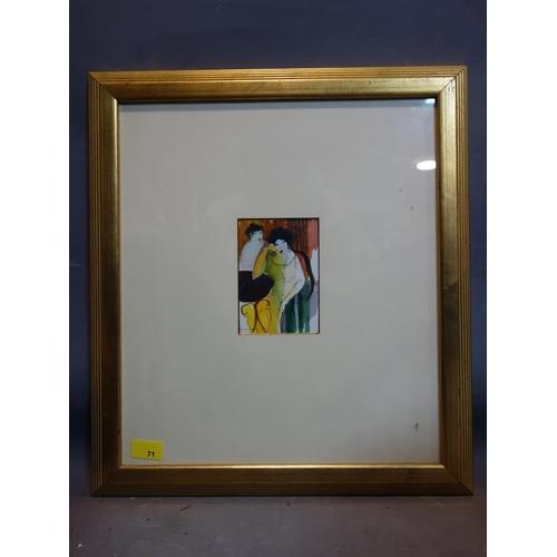 23 - Itzchak Tarkay (Israeli, 1935-2012), 'Two Friends', watercolour and pen, signed lower left, in glaze...