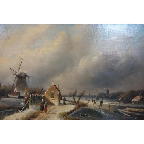 12 - Attributed to Charles Henri Joseph Leickert (1816-1907), Dutch winter scene with windmill, oil on ca...