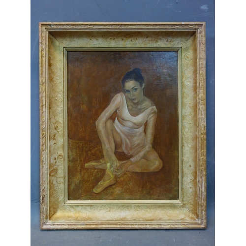 27 - Ryszard Kalamarz (20th century Polish school), Seated ballet dancer, oil on panel, signed and dated ...