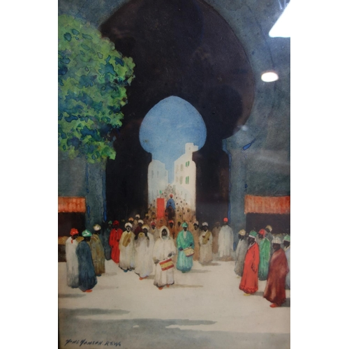 3 - Hans Jacob Hansen RSW (Scottish, 1853-1947), North African figures in a procession, watercolour, sig...