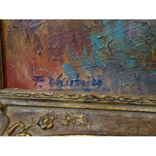 30 - Francois Vautrin (Belgian, b.1947), Landscape, oil on panel, signed lower left, in gilt frame, 43 x ...