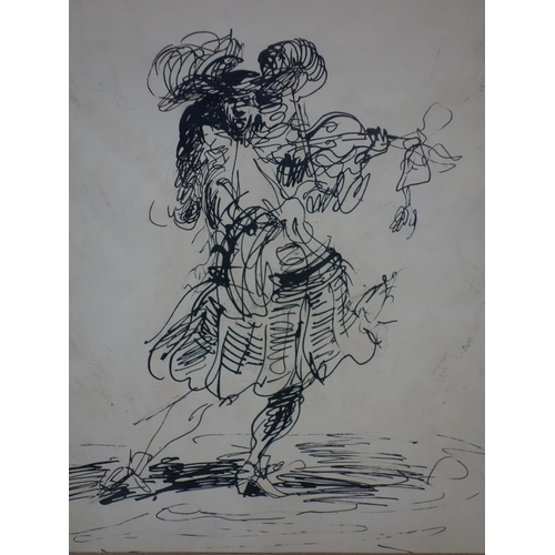 25 - A gentleman playing the violin, ink on paper, unsigned, framed and glazed, 32 x 22cm...