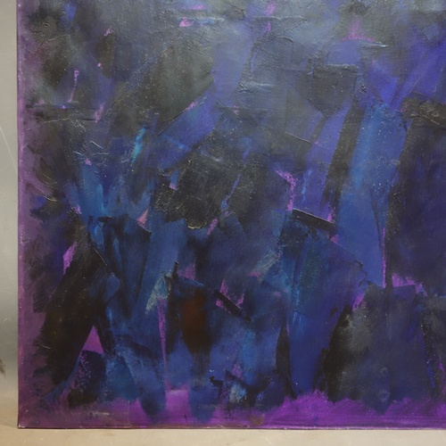 15 - Arnold Dobbs (British, b.1941), Abstract Composition in blues and purples, oil on canvas, signed and...