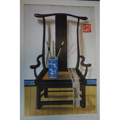 61 - WITHDRAWN Michel Lablais (French, 1925-2017), three lithographs of Chinese objects on hardwood armch...
