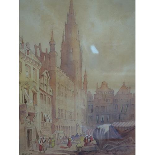 68 - Walter Herbert Allen RBA, ACRA (British, 1863-1943), 'Hotel de Ville, Brussels' and 'Bruges', two wa...