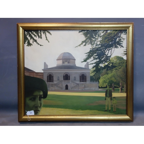 105 - A 20th century oil on board depicting figures by Chiswick house, signed Monagham, 63 x 74cm...
