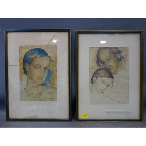 173 - Gemma Vercelli (Italian, 1906-1995), two pencil and watercolour sketches, one of a man and a girl, s...