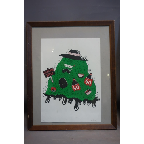 187 - A limited edition lithograph titled 'everything sucks', indistinctly signed and numbered 26/30, 42 x...