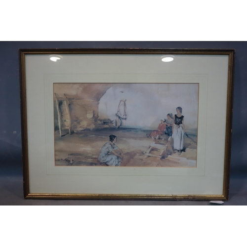 189 - After William Russell Flint, Ladies in the Street, print, 27 x 44cm...